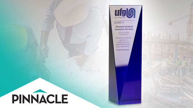 Pinnacle Surety receives the 2018 UFG Surety Crystal Blue Award